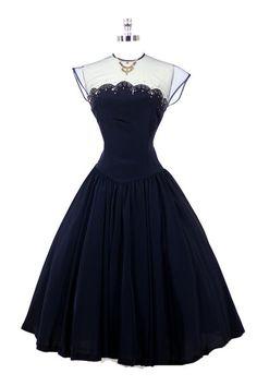 50's navy dress