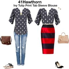 """41Hawthorn"" by katrinalake on Polyvore  I would LOVE to get this tulip print top in my next stitch fix!"
