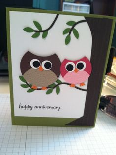 My version of a cute owl card I saw by Julie Arvin..