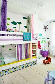 Curtains for kid's bunk beds.  Museum of Happiness: Colorful Bunk Bed Room