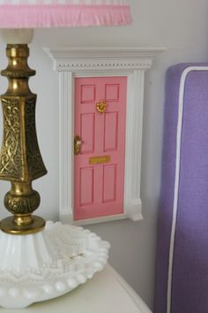 Tooth fairy door made out of dollhouse supplies.  So cute!