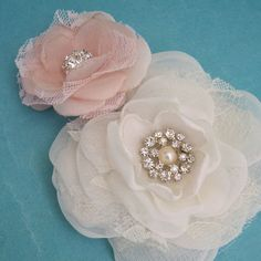 Wedding hair flower set Blush Pink Organza Lace by HARTfeltart, $35.50