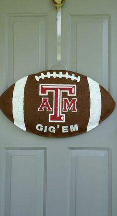 Texas A football burlap door and wall hanger