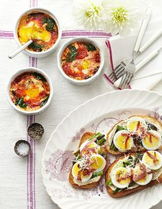 ... Baked Eggs with Spinach and Tomatoes or Country Ham-and-Egg Toasts