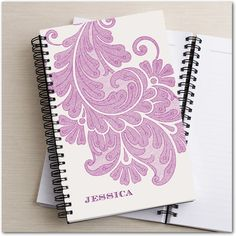 Vintage paisley notebook in berry, mint or white. Add a name for a personal touch!
