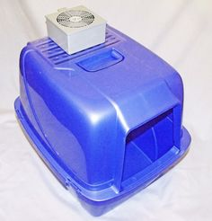 Cat litter box odor control that actually works!  This box is attached to your existing covered litter box and sucks the odor out and through a carbon filter.