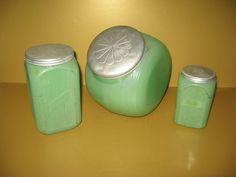 Fired On Jadite Hoosier or Sellers Jars by Sneath Glass Co