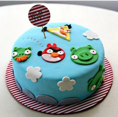Cake!! You've probably seen this angry bird cake- http://www.youtube.com/watch?v=-hwVRzaQNkA, but yours doesn't have to be so elaborate. These characters are so simple, anyone can replicate them. So weather you order your cake from a bakery or do it yourself it will look awesome!