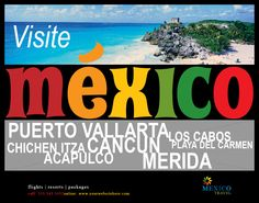 Tropical Mexico travel poster aimed at people wanting to visit a sunny destination for a holiday. Landscape style.