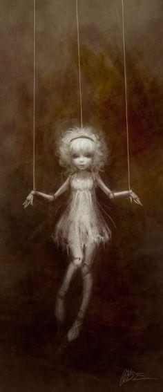 #Art #Puppet #Strings #White #Dark #Black #Gothic
