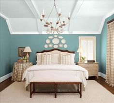 Bedroom update paint colors  Sherwin-Williams Walls - Peacock Plume Ceiling - Timid Blue