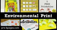 Environmental Print Activities for Preschool and Kindergarten http://www.pre-kpages.com/environmental-print-activities/