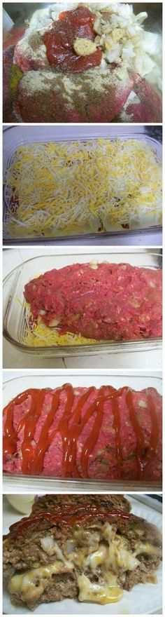 Cheese Stuffed Meatloaf Ingredients 1/2 cup crushed saltines or bread crumbs 2 pounds ground meat 1 egg 2 teaspoons crushed garlic 1 small onion salt and pepper to taste 1/4 cup ketchup 2 tablespoons Worcestershire sauce cheese some ketchup for the top