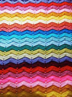 Custom order crochet afghan ripple in rainbow by mostlyjonah, $90.00