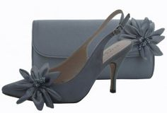Pewter Evening Shoes and Matching Bag. Wedding shoes and bag
