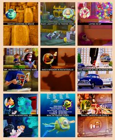Hidden Pixar characters in other Pixar movies. (There are future film characters in every Pixar film, but some of these reference past characters.)