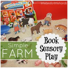 farm book sensory play rice sensory bin