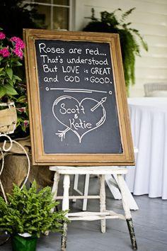 Cute twist on a classic poem for a wedding decoration.