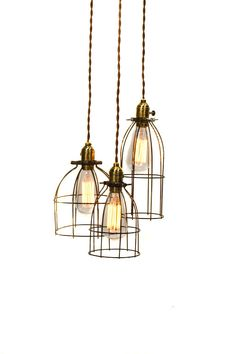 Industrial 3 light Caged Chandelier. Very cool.