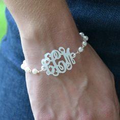 Acrylic Monogram Pearl Bracelet in lots of colors.
