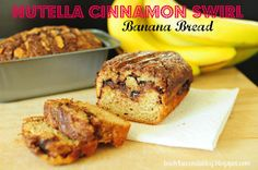 Skinny Nutella Cinnamon Banana Swirl Bread @Beverly Kaine For Seconds #nutella #bananabread #recipe #skinny #breakfast