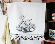 Pano De Prato Galinha com Crochê