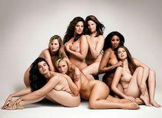 From far left: Crystal Renn, Amy Lemons, Ashley Graham, Kate Dillon, Anansa Sims and Jennie Runk. Bottom Center: Lizzie Miller.