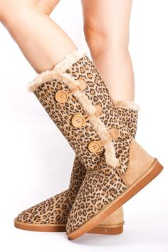 leopard print button-up ugg boots