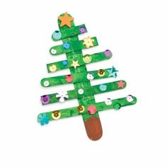 Craft Stick Christmas Tree-would be cute for our Elf to make
