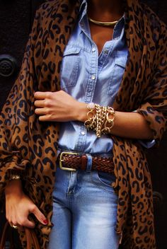 .leopard, denim and brown leather with lots of arm bling