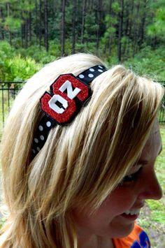 NC State Glitter headband