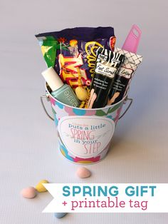 "Love this Easter gift for a friend - pedicure items to put some ""Spring in your Step!"" #giftidea #spring"