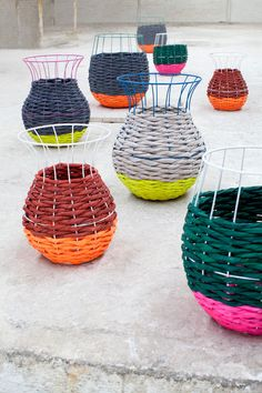 woven baskets, craft books, color combos, neon colors, wire baskets, craft rooms