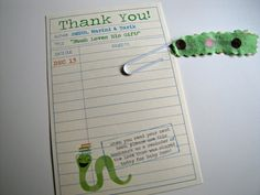 An adorable idea for a thank you note- perfect for a bring a book baby shower.