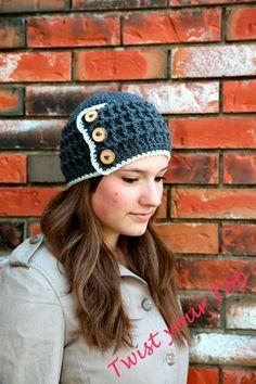 Crochet Button Up Beanie