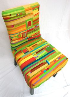 patchwork jeans quilt, chair covers, patchwork chair, chair upholstery, jean well, dining room chairs, bright colors