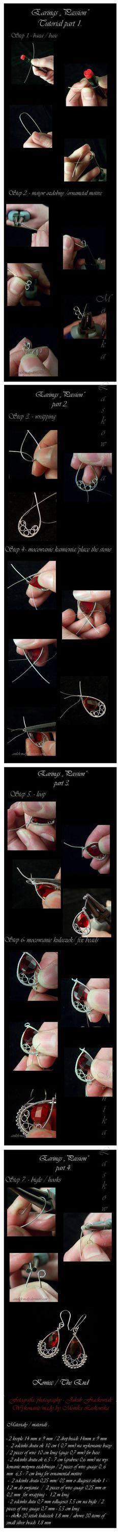 wire wrapped earrings tutorial by fanny #diy #crafts #wedding www.BlueRainbowDesign.com