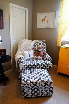 This black & white DIY upholstered rocker is major!  #black #linkprint #rocker #nursery
