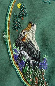 bead embroidery, grey wolf design, Janet Dann