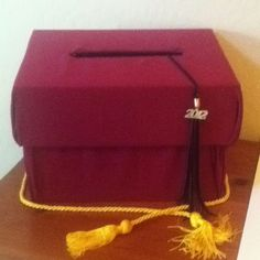 Graduation Party Card Box! Champagne flute box covered with pillow case or fabric.