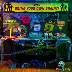 BYOB - bring your own braaaains! Zombie theme party ideas for Halloween - yum!