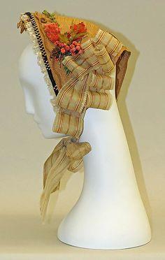 Bonnet, 1866, straw and silk