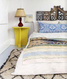 Bed on the floor / low bed + amazing headboard