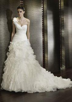 A-Line/Princess One-Shoulder Chapel Train Organza Satin Wedding Dresses with Ruffle