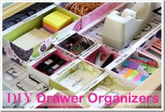 Scrapbook paper-lined boxes for organizing desk drawers!!!
