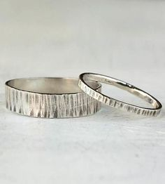Hammered Sterling Silver Couples Band Set by 36ten on Scoutmob Shoppe