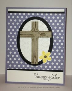 Easter Cross card using Hardwood and Petite Petals from the Stampin' Up! 2014 spring Occasions mini catalog by Emily Mark SU demo Greenfield Park, Quebec www.southshorestamping.com - MOJO336