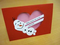 Disney Frozen Olaf the snowman Valentine's Day Card 2 by craftygru, $4.00