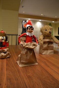 Elf on the Shelf paper bag race...love this!  We don't do any elf on the shelf things that are naughty or rude.