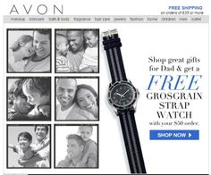 Another free gift offer! Free Avon Men's watch with your $50 online order. While supplies last. Always Avon Free Shipping on orders of $35 or more. Buy Avon online at http://eseagren.avonrepresentative.com #avon #fathersday #freeshipping